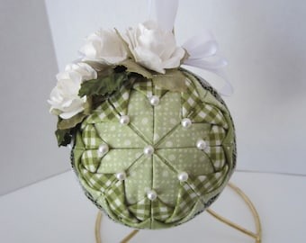 Quilted Christmas Ornament, Green Ornament, Rose Ornament