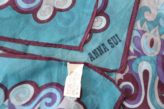 Authentic 70s Anna Sui designer small silk scarf … - image 5