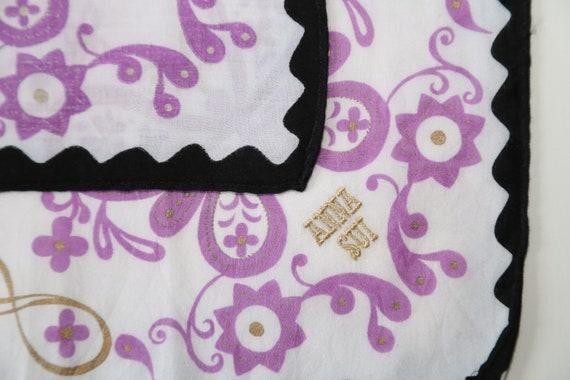 Authentic Anna Sui designer cotton scarf neckerch… - image 6