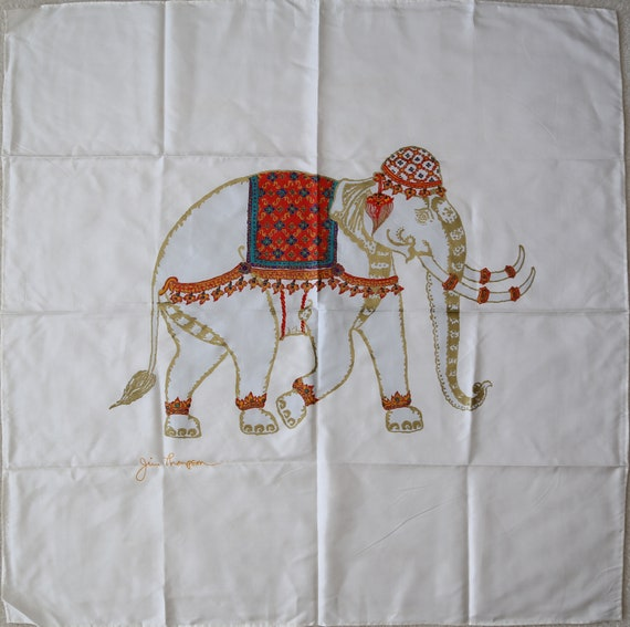 Authentic Jim Thompson Elephant Thai silk scarf vi