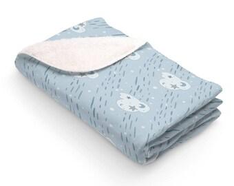 Sherpa Fleece Blanket Cloud Sky Blue Crib Rain Stars