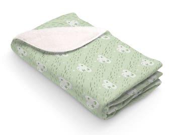 Sherpa Fleece Blanket Cloud Sky Green Crib Rain Stars