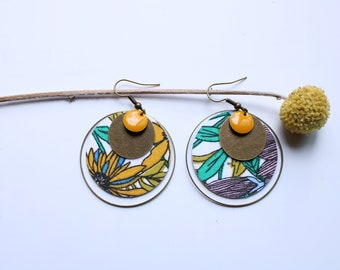 Raw brass sequins dying earring