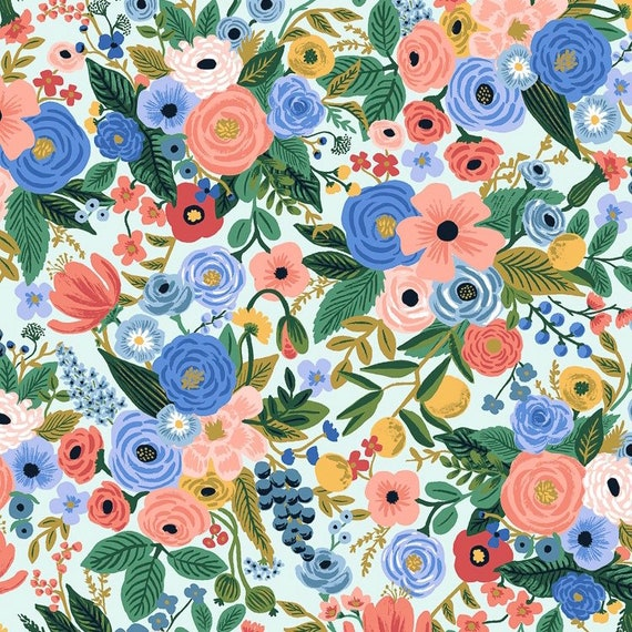 Cotton and Steel Cotton Fabric Wildwood Petite Garden party petite garden party blue fabric Rifle paper co wildwood Rifle paper co
