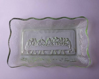 Green Glass 'The Last Supper' Butter Dish - 1970's