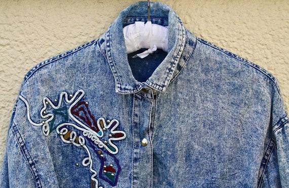 Vintage - Katja - Oversized Jeanshemd SIZE M mit A