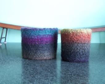 Felted Wool Bowl / Basket Pair Earth Tones