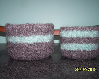 Felted Wool Baskets / Bowls Pair