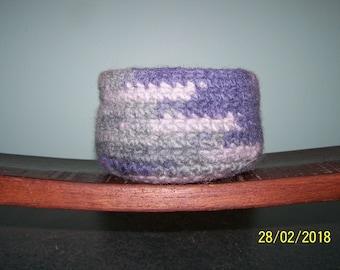 Sweet Crochet Felted Wool Bowl / Basket