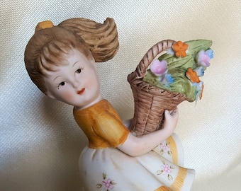 1950's Lefton China Figurine - Girl Picking Flowers in the Wind