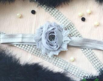Gray Flower Headband Elegant Black Embellishment