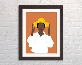 Faceless Minimalist Digital Portrait Illustration Solid Wood Framed Print of Woman Wearing Yellow Hat