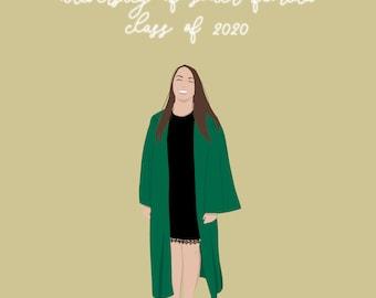 Custom Graduation Digital Portrait Illustration | Graduation Graduate 2020 Gift