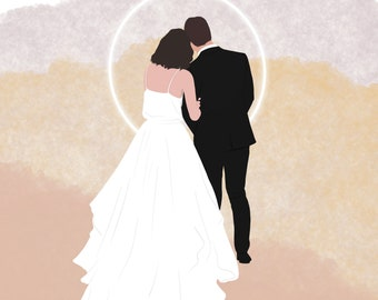 Couples Portrait | Wedding Anniversary Gift Custom Color Block/ Shape Illustration