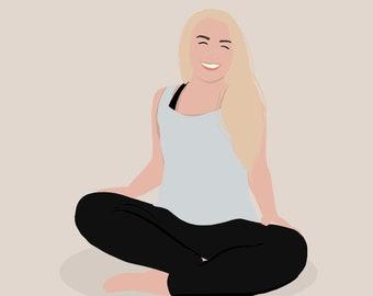 Single Person Full Body Digital Portrait Illustration | Custom Color Block/ Shape