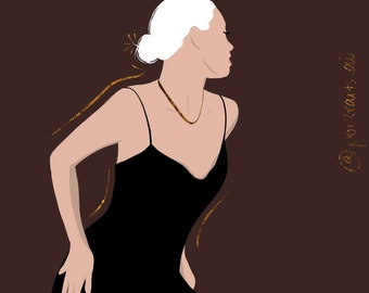 Custom Portrait Illustration with Gold Foil Design | Neutral Flesh Colored Illustrations