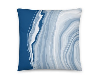 Classic Blue Agate Gemstone Design Front and Back Printed Pillow