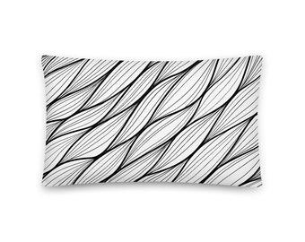 Linear Art Pillow Design Black and White Monochromatic