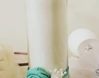 Green flower 20 inch glass candle