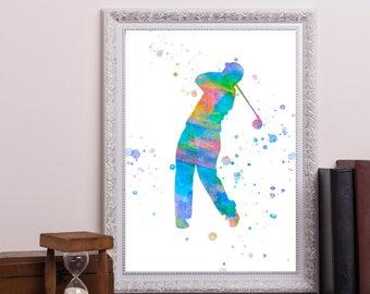 Golfer With Golf Swing Wall Art , Golf Theme Room Decor,  Golfer Posters,  Art Print a247
