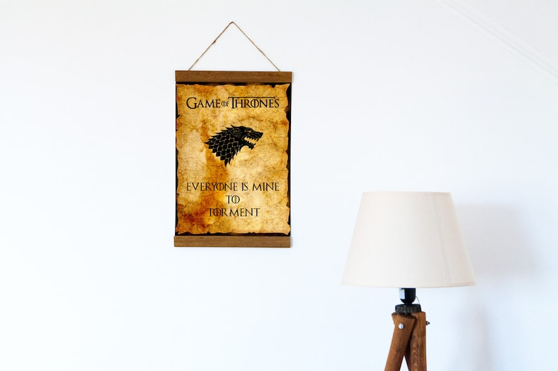 Poster Wood Framed Canvas Print Game of Thrones Quote  Everyone Is Mine To Torment 8.7 x 11.8-11.8 x 15.7