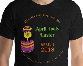 April Fools Easter Keepsake Tee with Previous and Future Years. Graphic Chick Hatching Short-Sleeve Unisex T-Shirt