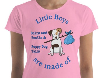 Little Boys are made of Snips, Snails, Puppy Dog Tails Baby Shower Gift Tee, Expecting Parents  Women's short sleeve t-shirt