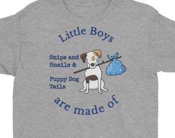 Youth Little Boys are made of Snips and Snails & Puppy Dog Tails Dark Blue Short Sleeve T-Shirt