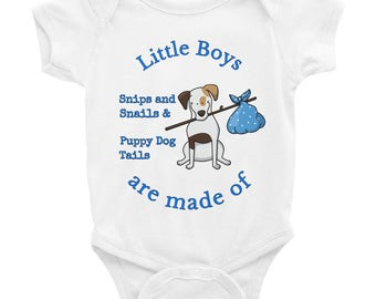 Little Boys are made of Snips and Snails & Puppy Dog Tails Baby Birthday Gift Blue Infant Bodysuit Baby One Piece