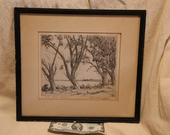 Etching by Leon Pescheret artwork Willow Drive Madison