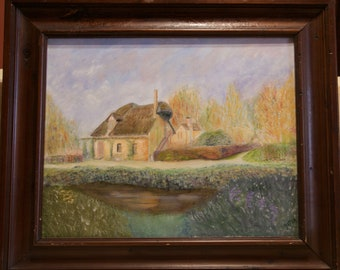 "Debby ""Detra"" Mahlmeister Illinois Artist Signed and Framed Tatched Cabin along the River"