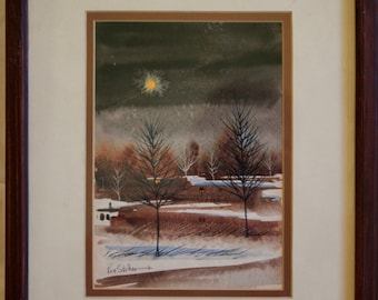 Winter Nighttime Landscape Water Color, Oil Framed and signed by Wisconsin Artist