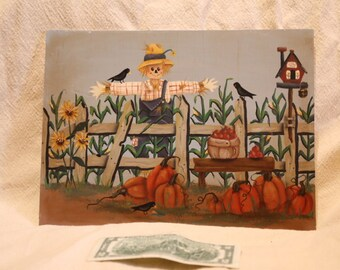 Kathy Stevens Signed Scar Crow in the Fall Garden 13 inches by 10 inches