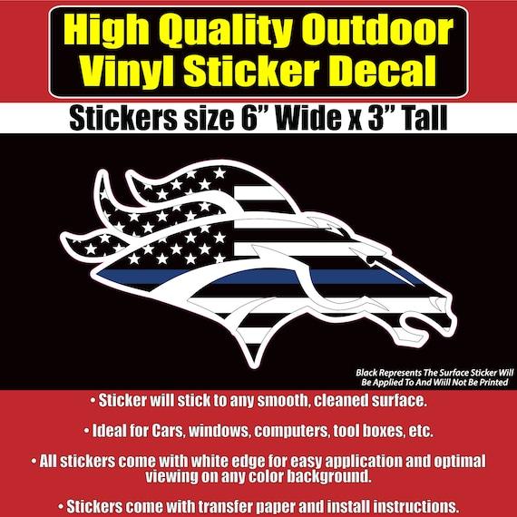 Denver broncos thin blue line design vinyl sticker decal