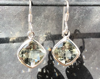Faceted green amethyst prasiolite earrings