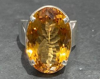 Citrine Ring / fine cut Citrine ring / good quality citrine ring / large citrine ring - size U.K. - S / US - 9 / EU - 59