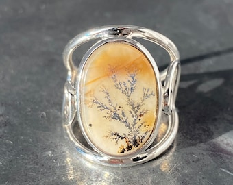 Reserved for Marine - Dendrite Agate Ring - Scenic Agate Ring - dendrite Ring size - U.K. - P, US - 7 3/4, EU - 56