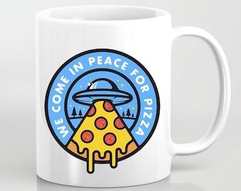 We Come in Peace for Pizza Mug Gift Funny Meme Vegetarian Food Pepperoni Dude Turtles Vegan