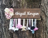 Personalized Headband and bow holder with flowers. Shabby chic baby girl nursery decor, Baby shower gift, Necklace display, Head wrap holder