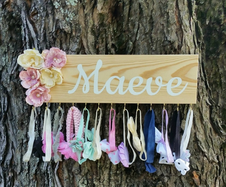 Jewelry organizer Bow holder Personalized Headband holder with flowers and hooks Naturalistic nursery decor Baby shower gift