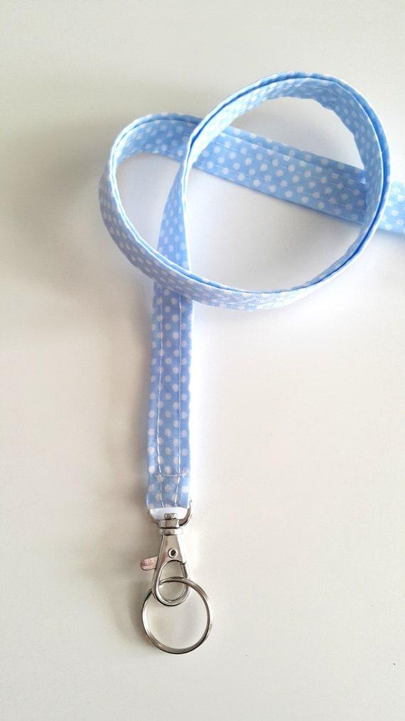 Personnalisé longe ID Badge porte nom Tag porte-clés longe avec pivotant Clip professeur cadeau Polka Dots pour son trousseau de jour de fête des mères