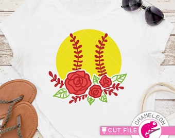 Floral Baseball with Roses Softball design Cricut SVG File for Cutting Machine Silhouette Cameo Commercial Use Digital Design Flowers