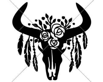 Cow Skull Svg Etsy
