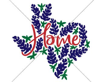 Home Spring Texas with Bluebonnets SVG dxf Files for Cutting Machines like Silhouette Cameo and Cricut, Commercial Use Digital Design