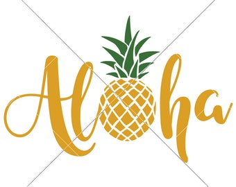 Aloha Pineapple Summer Beach Lake SVG dxf Files for Cutting Machines like Silhouette Cameo and Cricut, Commercial Use Digital Design