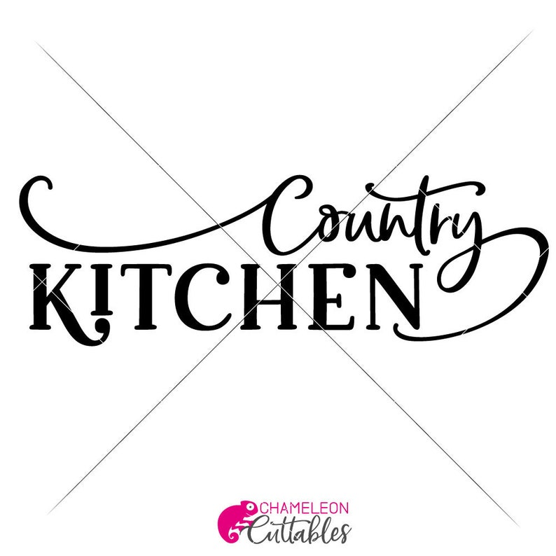 Country Kitchen for long horizontal sign Farmhouse SVG Files for Cutting Machines Silhouette Cameo and Cricut Commercial Use Digital Design