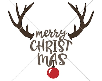 Merry Christmas Reindeer SVG eps dxf png   Files for Cutting Machines like Silhouette Cameo and Cricut, Commercial Use Digital Design