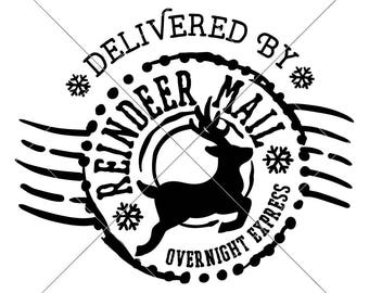 Reindeer Mail Santa Sack SVG eps dxf png   Files for Cutting Machines like Silhouette Cameo and Cricut, Commercial Use Digital Design