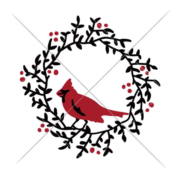 Christmas Wreath Silhouette.Cardinal On Christmas Wreath Svg Eps Dxf Png Files For Cutting Machines Like Silhouette Cameo And Cricut Commercial Use Digital Design