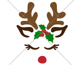 Reindeer Girl Face Christmas SVG eps dxf png   Files for Cutting Machines like Silhouette Cameo and Cricut, Commercial Use Digital Design